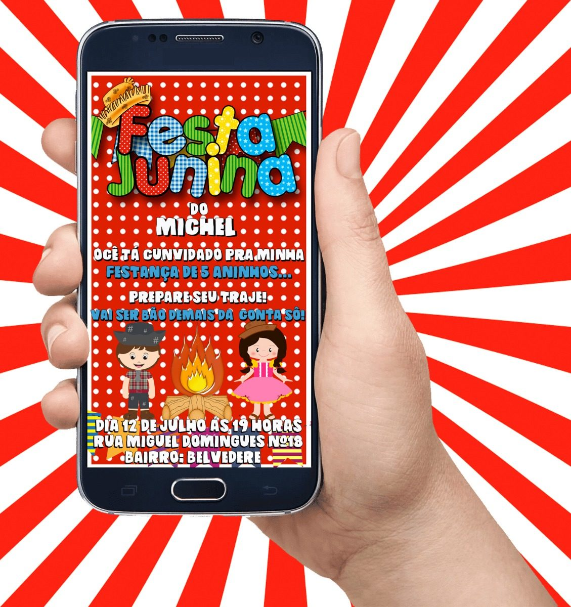 Convite De Aniversário Virtual Animado Festa Junina Casal R 2660
