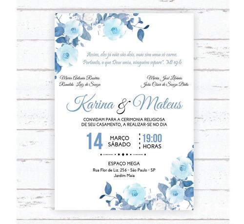 convite de casamento - azul serenity