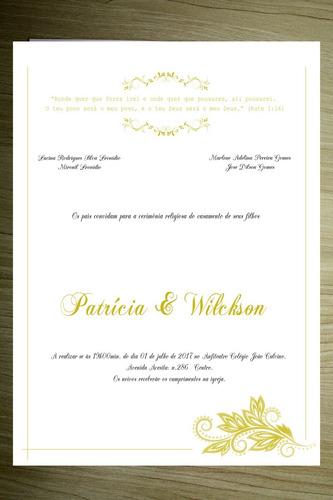 convite de casamento com fita e brindes