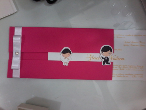 convite de casamento encontro de noivinhos com papel color