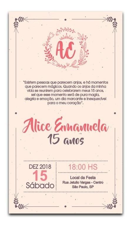 Convite De Festa 15 Anos Para Whatsapp Ou Imprimir Png R 20 00