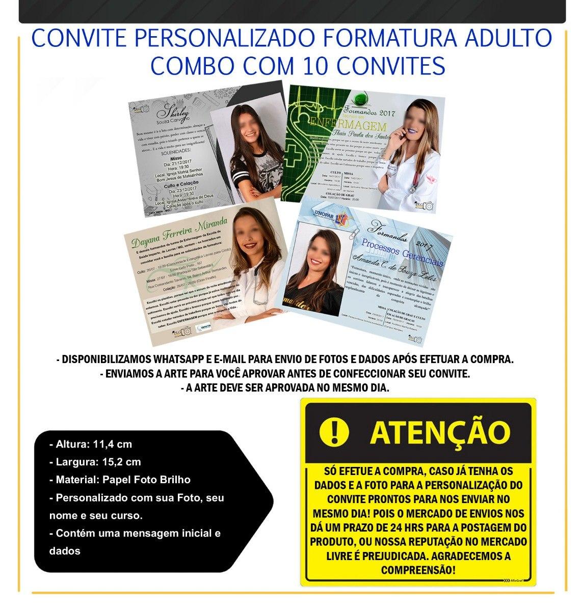 Convite De Formatura Personalizado Com Foto Combo Com 10 R 15