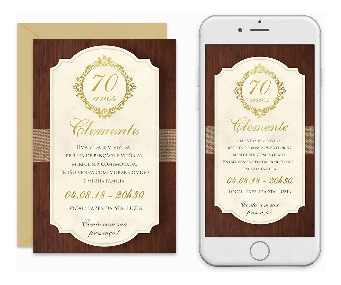 Convite Digital 40 50 60 70 Anos Masculino Rustico Imprimir R