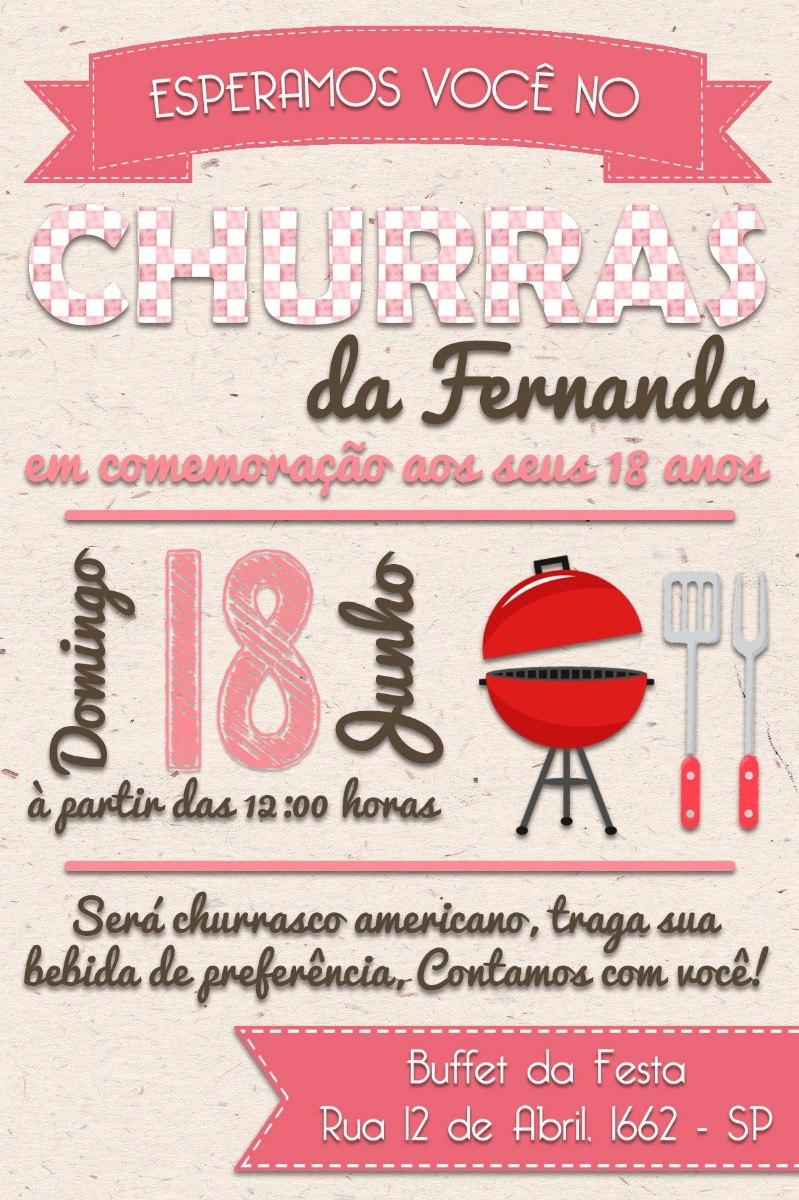 Convite Digital Aniversário Churrasco Feminino R 1600 Em Mercado