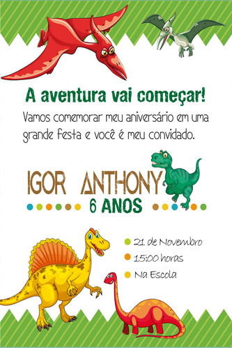 convite digital aniversário dinossauro!