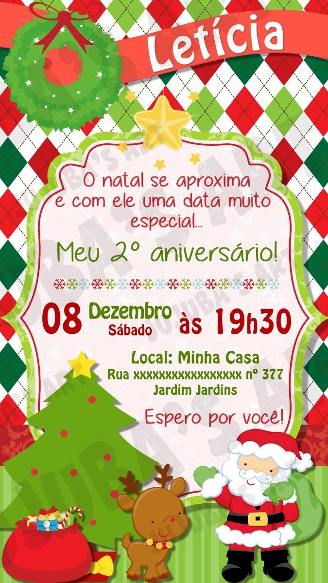 Convite Digital Aniversário Festa Natal Para Whatsapp Mod1