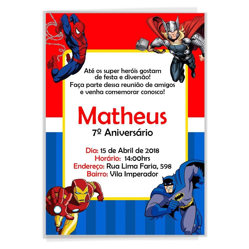 Convite Digital Aniversário Personalizado Super Heróis R 1499 Em