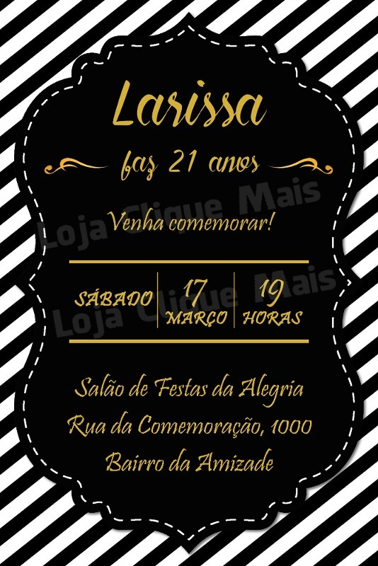 Convite Digital Aniversario Preto Branco E Dourado R 16 00 Em