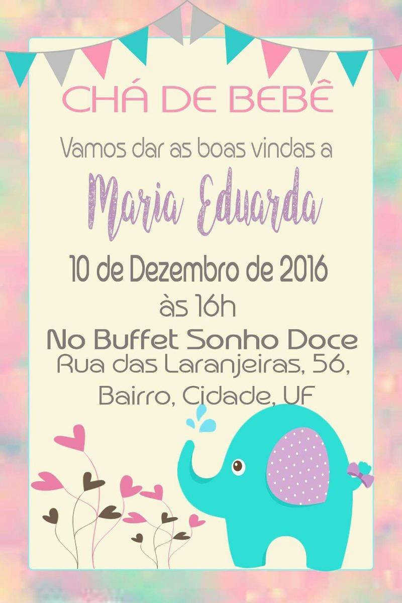 Convite Digital Chá De Bebê Elefante R 2400 Em Mercado Livre