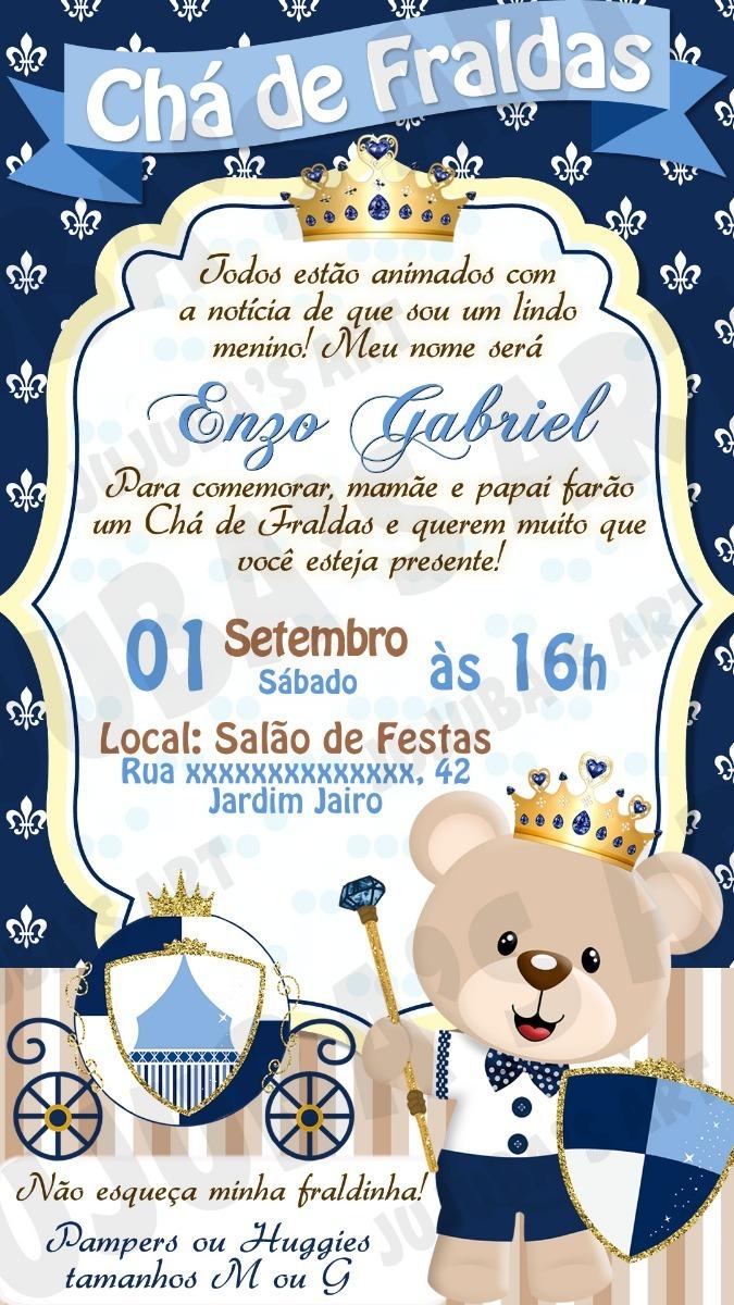 Convite Digital Chá De Fraldas Bebê Ursinho Urso Príncipe R 1500