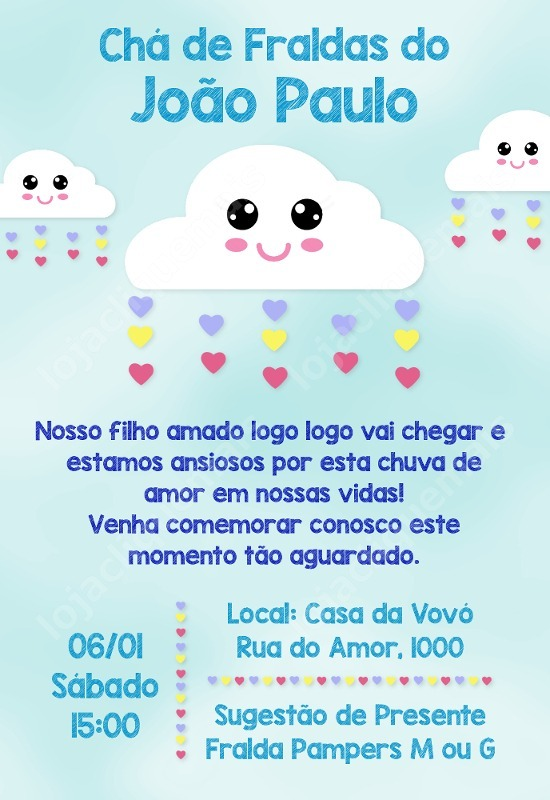 Convite Digital Chá De Fraldas Menino Chuva De Amor R 1600 Em