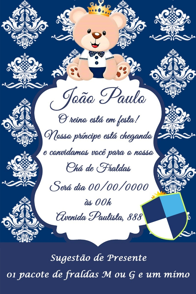 Convite Digital Chá De Fraldas Urso Rei Com Coroa Modelo 3 R 16