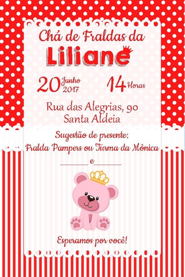 Convite Digital Chá Fraldas Menina Ursinha Princesa Vermelho R 16