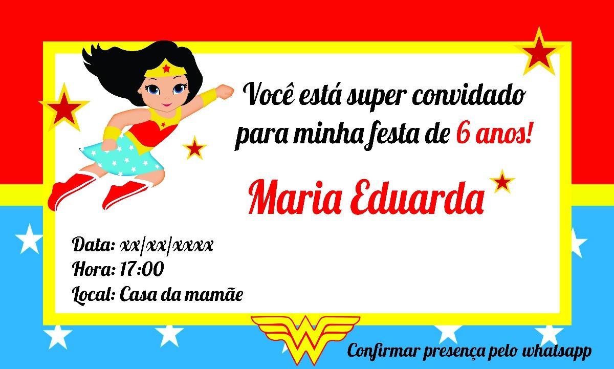 Convite Digital Da Mulher Maravilha Envio Gratis R 7 50 Em