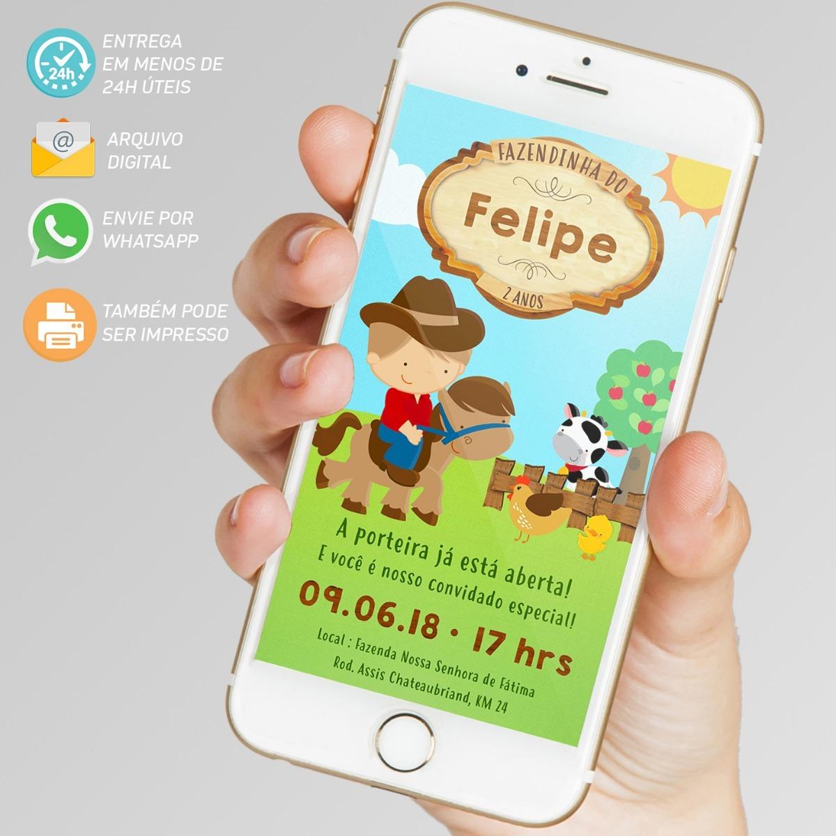 Convite Digital Fazendinha Menino Virtual Imprimir Whatsapp R