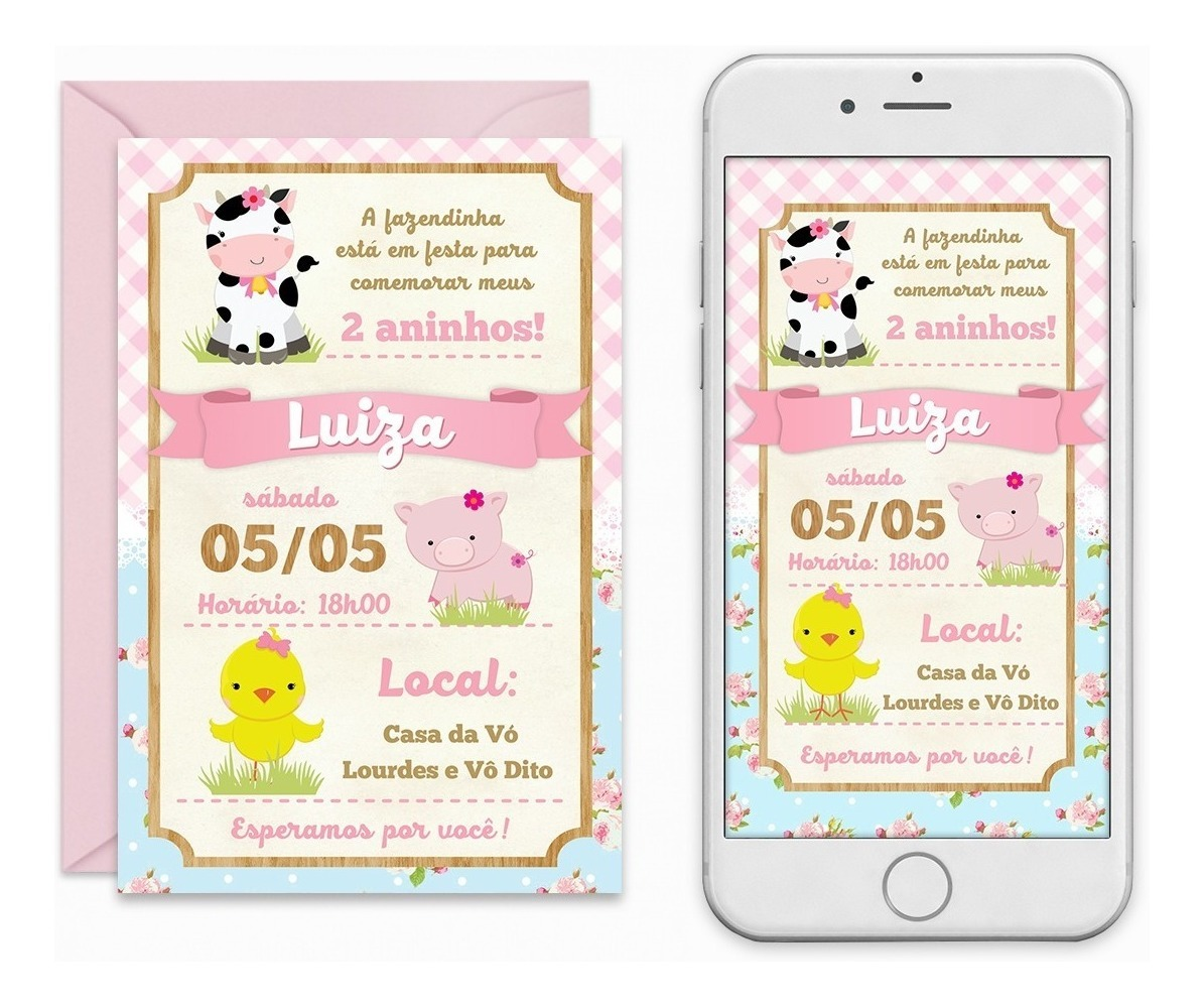 Convite Digital Fazendinha Rosa Menina Candy Colors Imprimir R