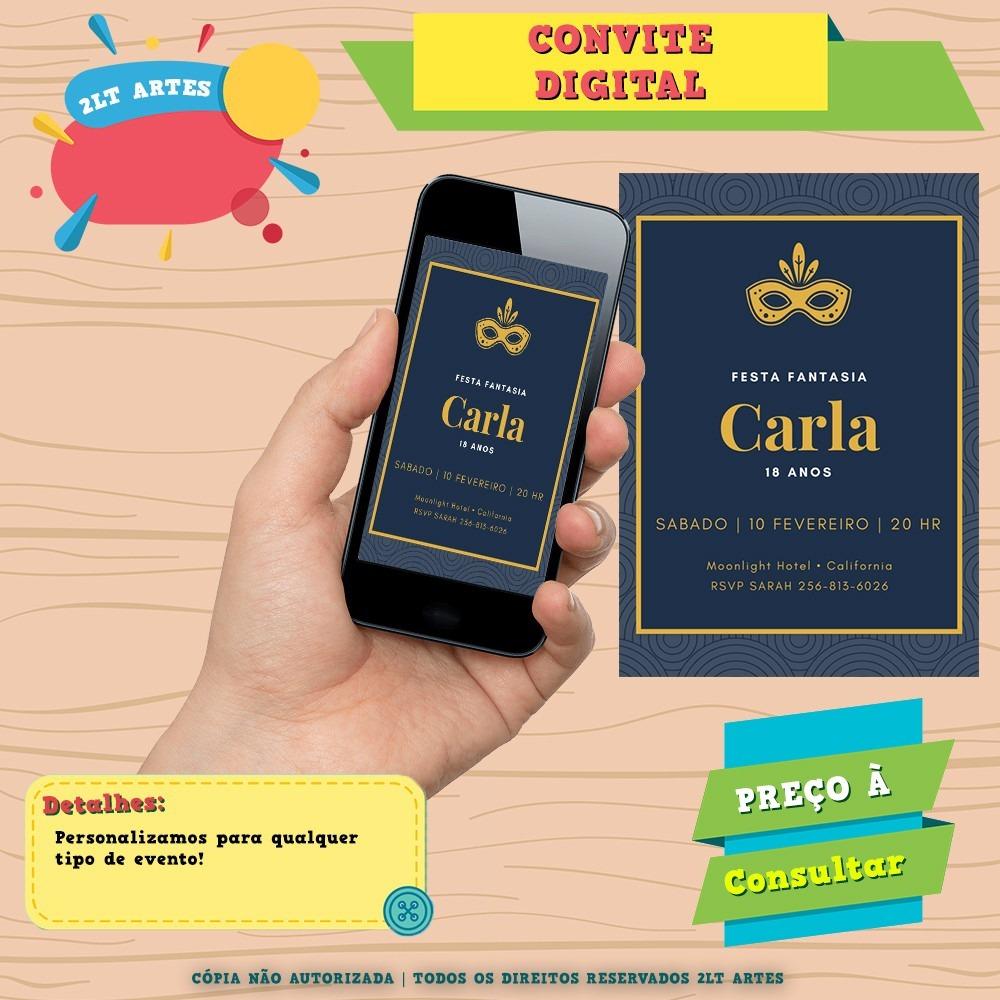 Convite Digital Festa Fantasia 18 Anos R 2500 Em Mercado Livre