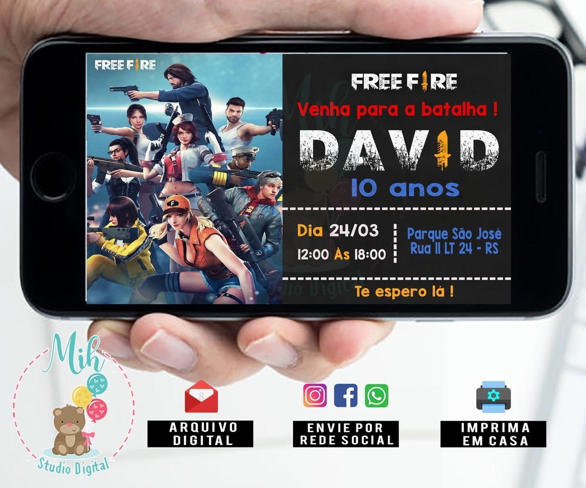 Convite Digital Free Fire Zap 01 R 2298 Em Mercado Livre
