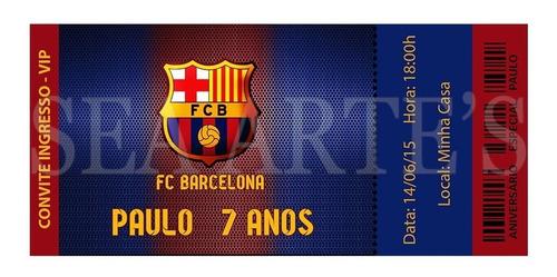 convite digital futebol barcelona p/  impressão ou whatsapp