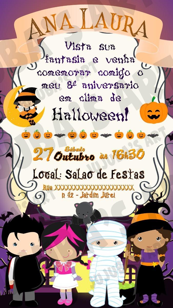 Convite Digital Halloween Dia Das Bruxas Festa A Fantasia 2 R