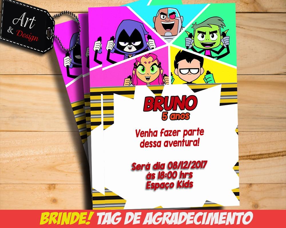 Convite Digital Jovens Titans Tag De Brinde M02 R 1200 Em