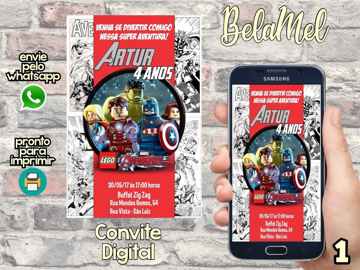 Convite Digital Lego Vingadores Avengers R 11 90 Em Mercado Livre