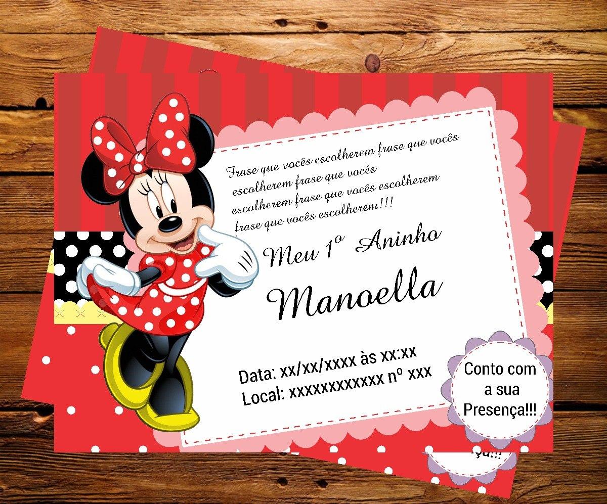 Convite Digital Minnie R 1000 Em Mercado Livre