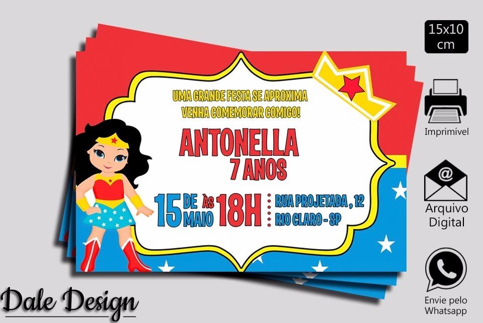 Convite Digital Mulher Maravilha Aniversario Para Imprimir R 20