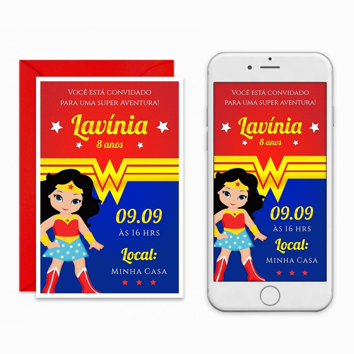 Convite Digital Mulher Maravilha Virtual Imprimir Whatsapp R 29