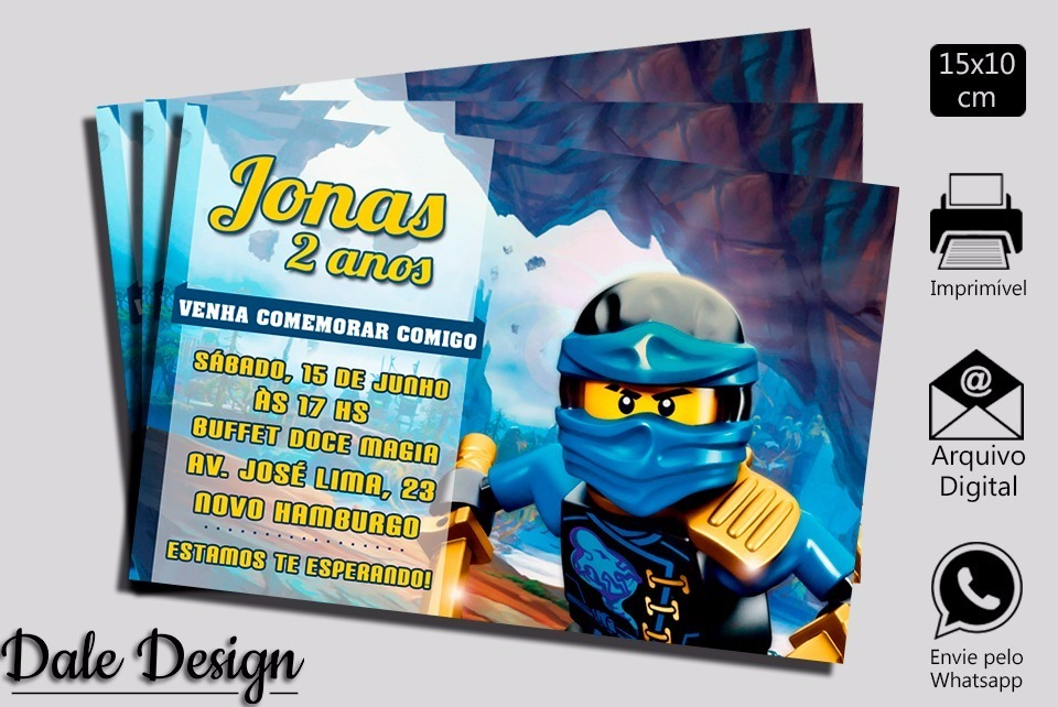 Convite Digital Ninjago Aniversário Para Imprimir R 2000 Em