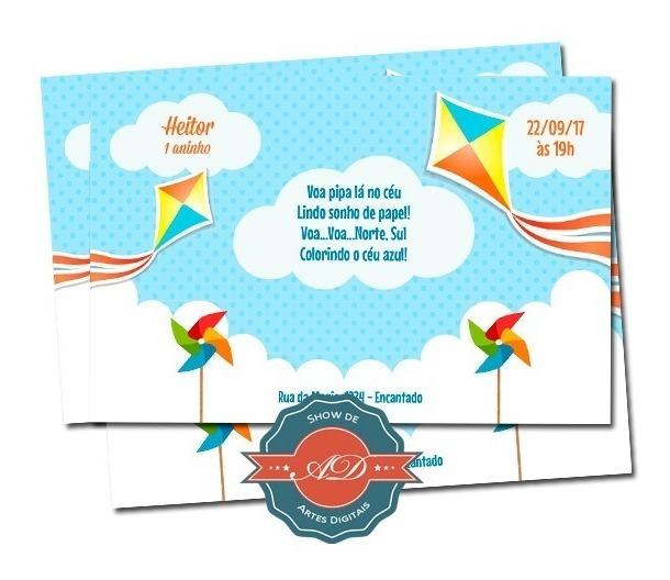 Convite Digital Nuvens Pipa Balao R 15 00 Em Mercado Livre