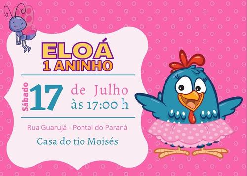 convite digital para whatsapp galinha pintadinha rosa