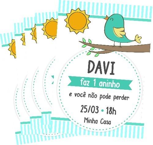 Convite Digital Passarinho Menino Zap Imprimir R 12 90 Em