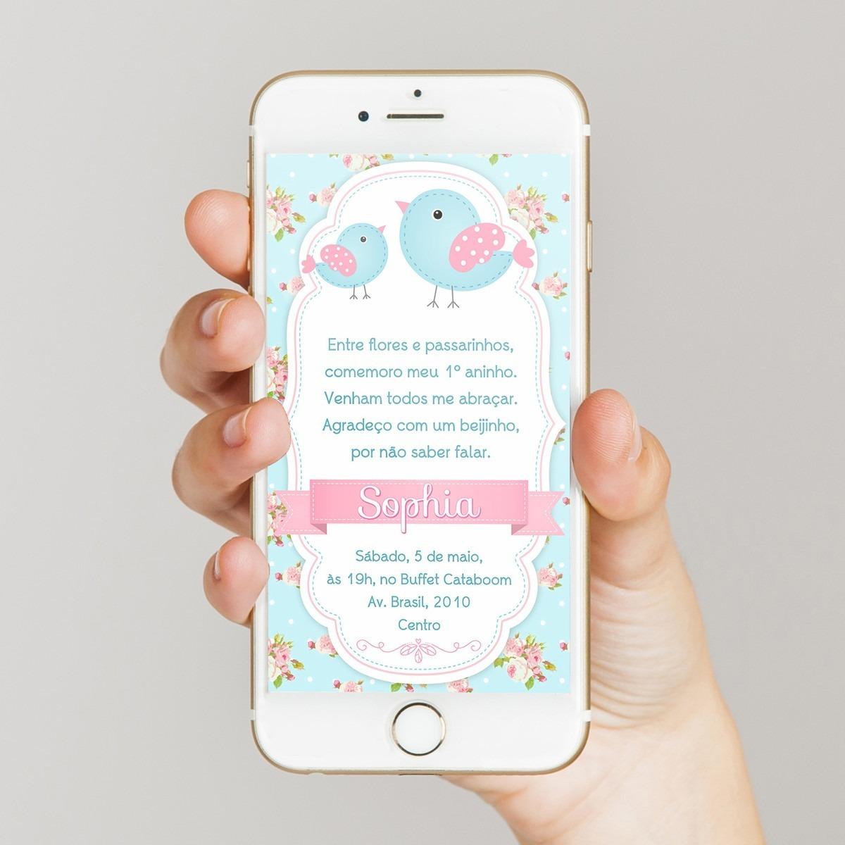 Convite Digital Passarinho Virtual Imprimir Whatsapp R 29 00 Em