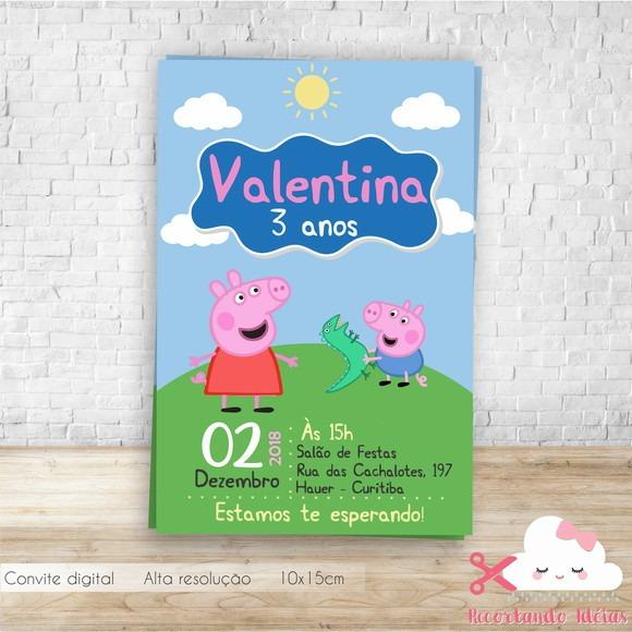 Convite Digital Peppa Pig R 19 90 Em Mercado Livre