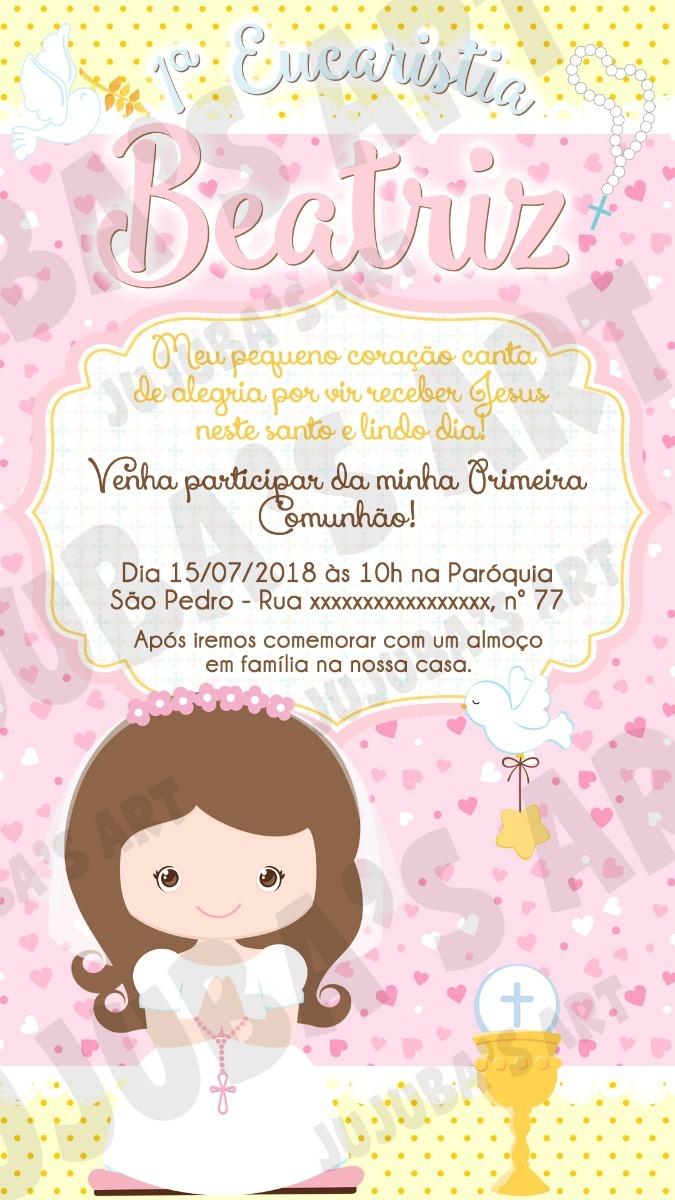Convite Digital Primeira Eucaristia Comunhão Menina Mod1