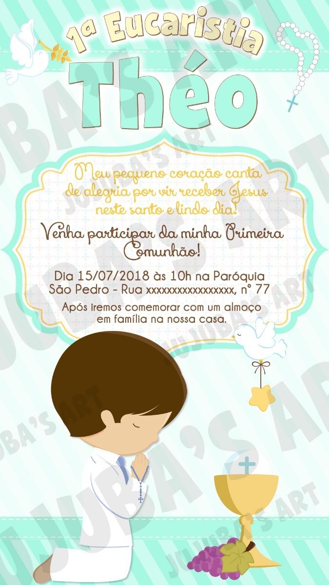 Convite Digital Primeira Eucaristia Comunhão Menino Mod4