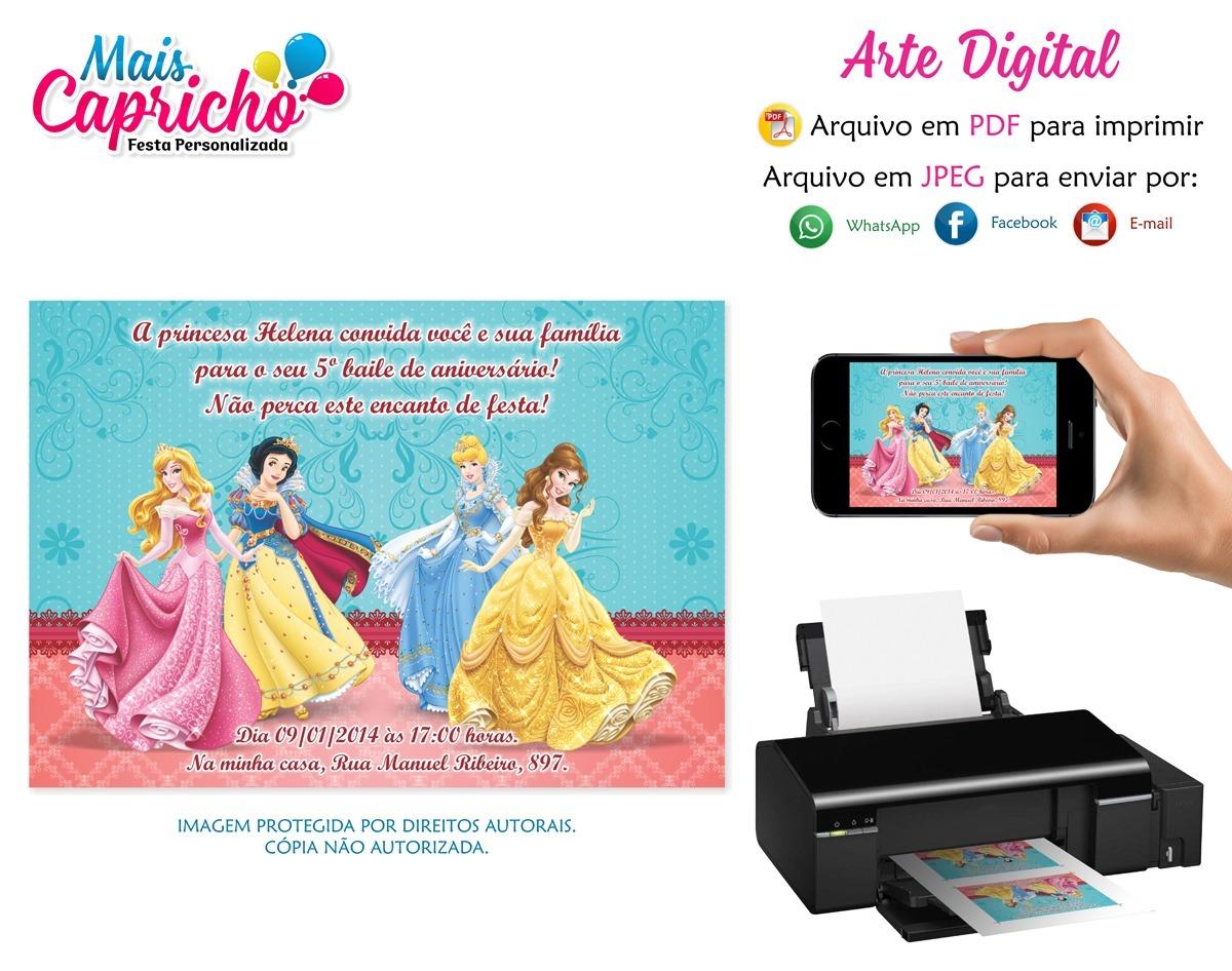 Convite Digital Princesas Disney Arte Aniversario Infantil R