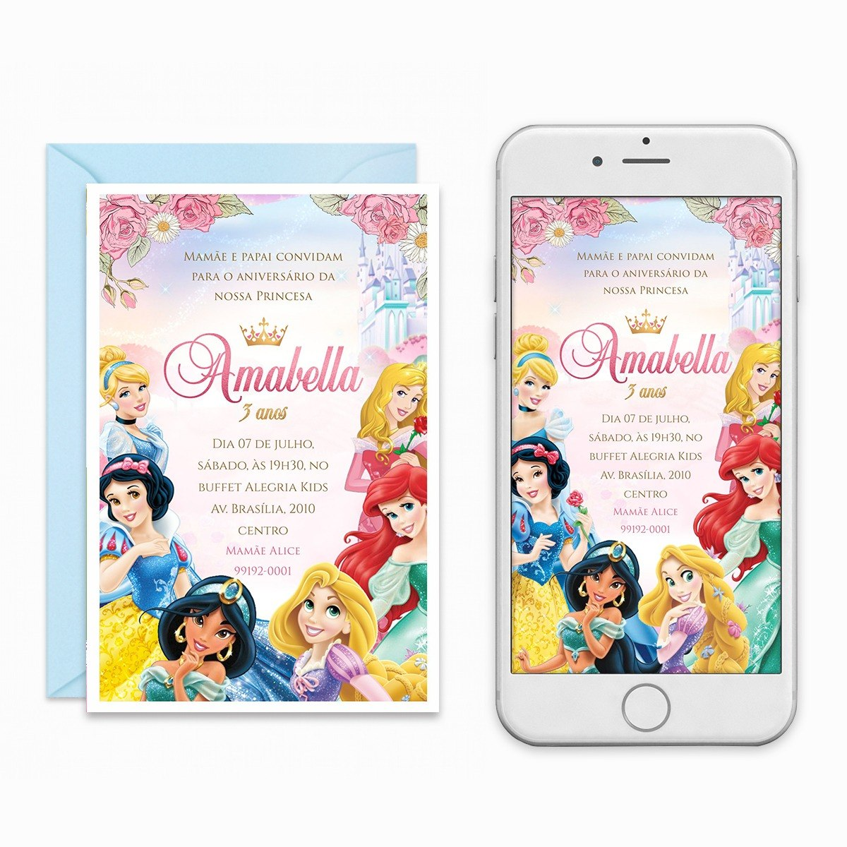 Convite Digital Princesas Disney Virtual Imprimir R 29 00 Em
