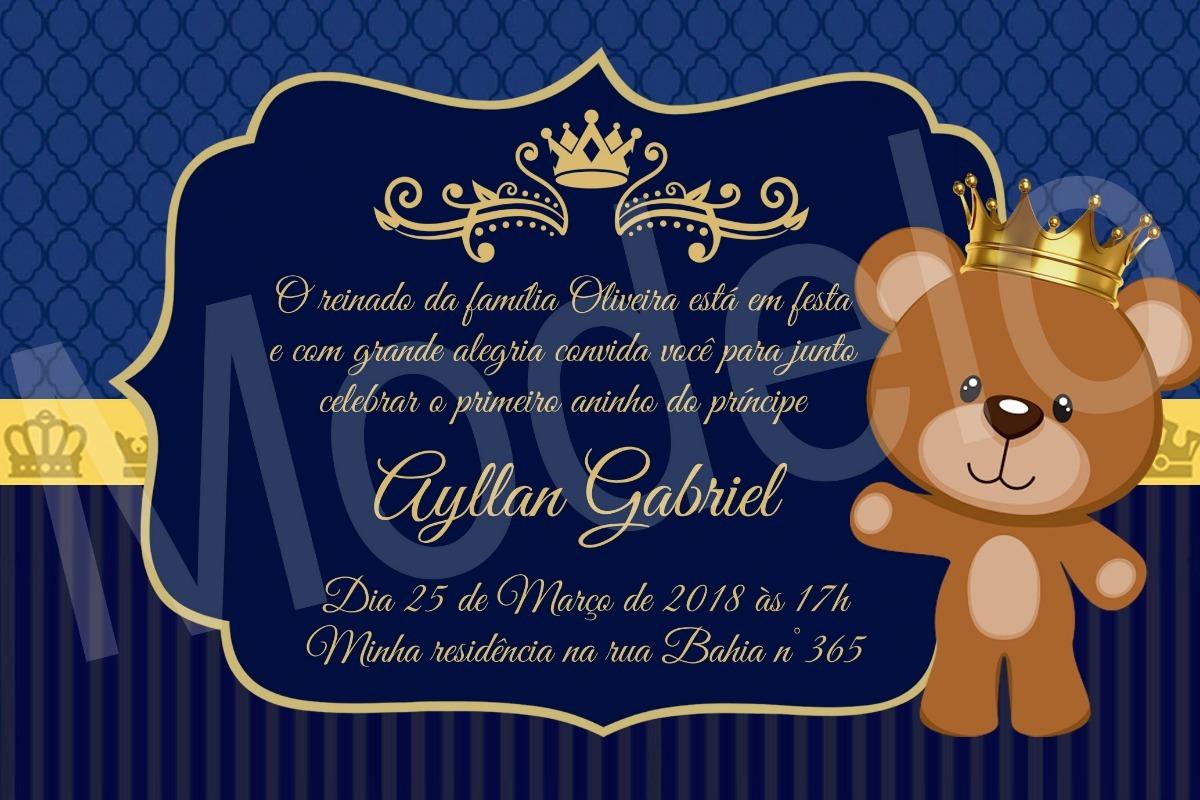 Convite Digital Príncipe Urso Coroa Realeza Azul Marinho R 1490
