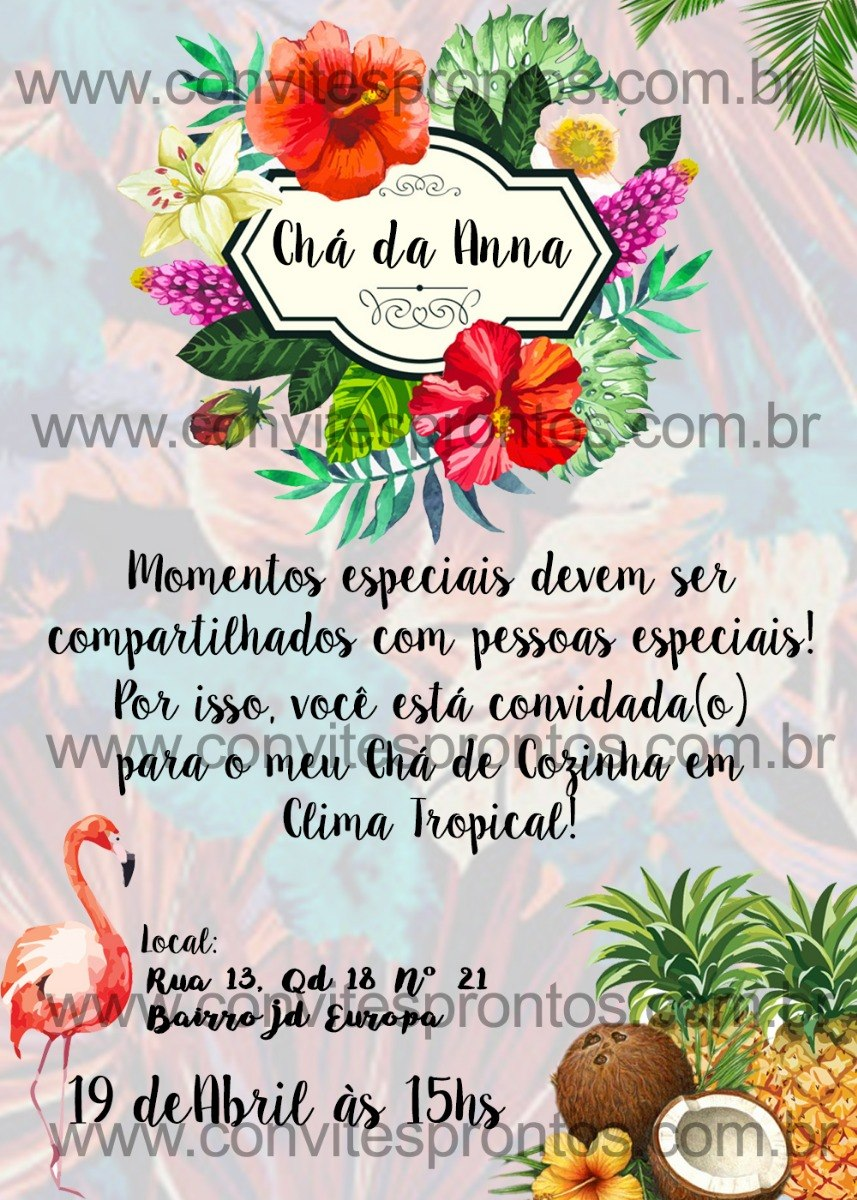Convite Digital Tema Havai Hawaii Luau Havaiano Tropical R 1600