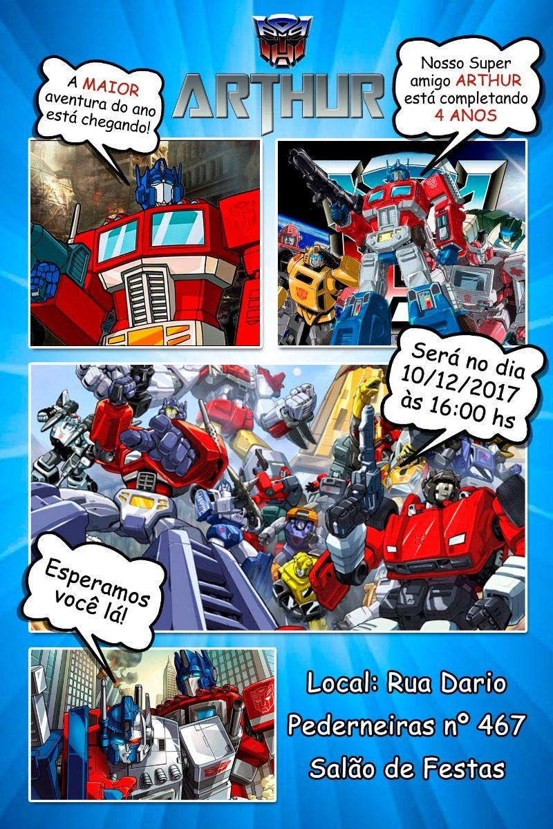 Convite Digital Transformers Tipo Gibi Envio Rápido R 1490