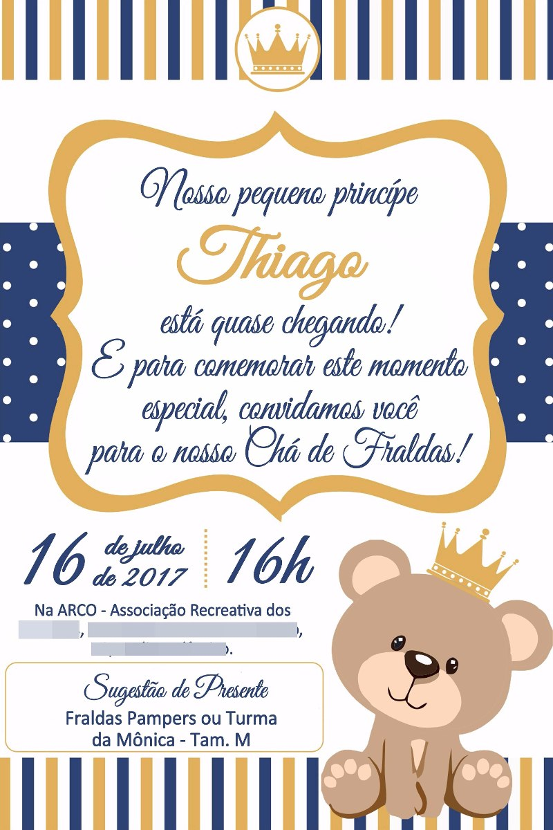 Convite Digital Ursa Ursinha Princesa Ursinho Príncipe 02 R 1790