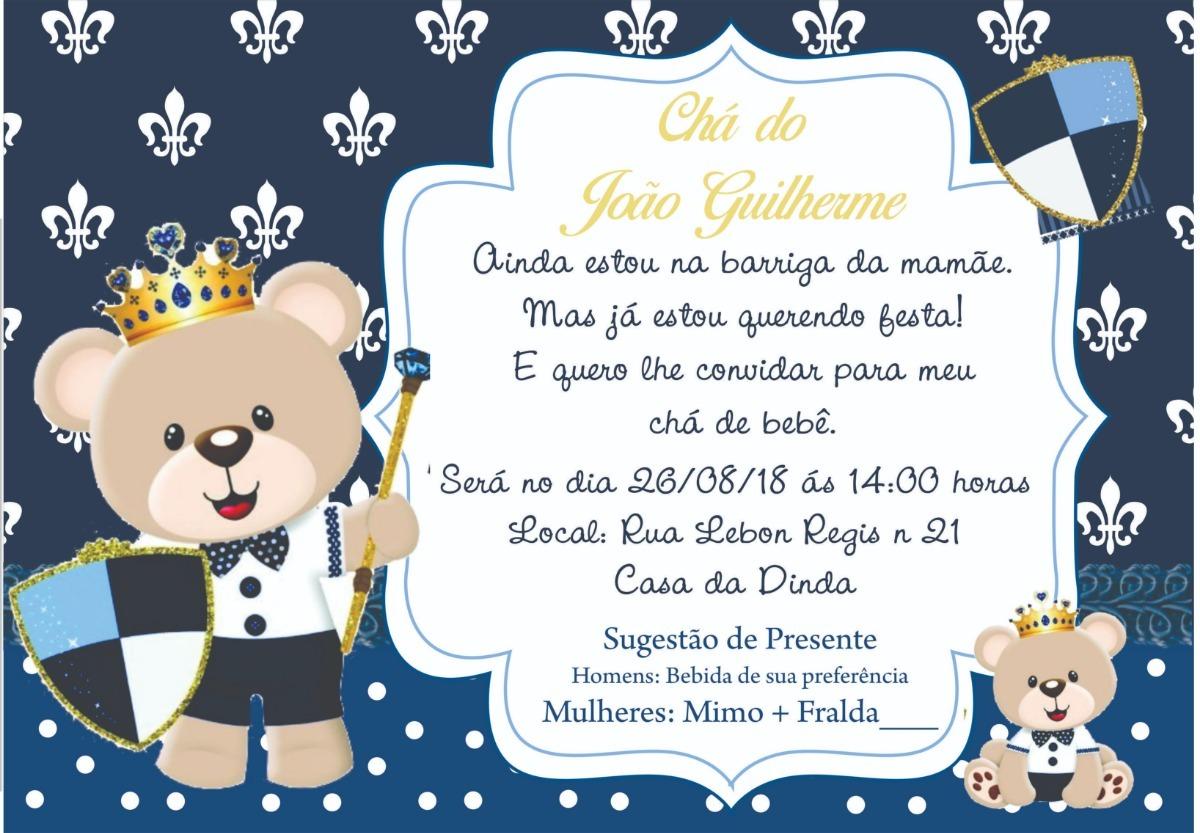 Convite Digital Ursinho Príncipe R 1799 Em Mercado Livre