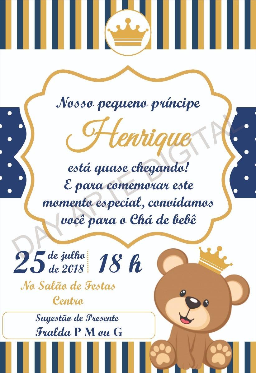 Convite Digital Urso Príncipe Ursa Princesa Chá Aniversario R 15