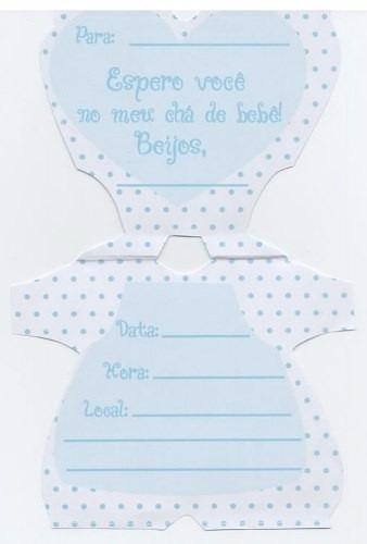 convite especial - cha bebe macacao azul (10 unid.)