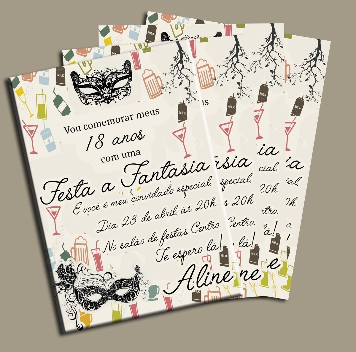 Convite Festa Fantasía 18 Anos 21cmx14cm R 4760 Em Mercado Livre