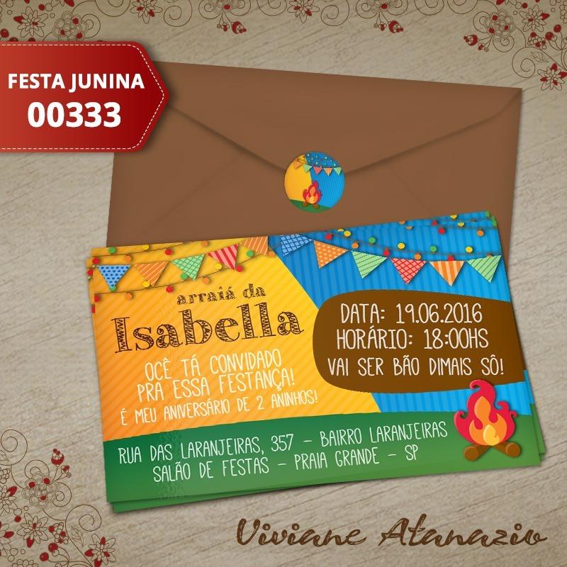 Convite Festa Junina Kit C 16un Frete Grátis R 3434 Em