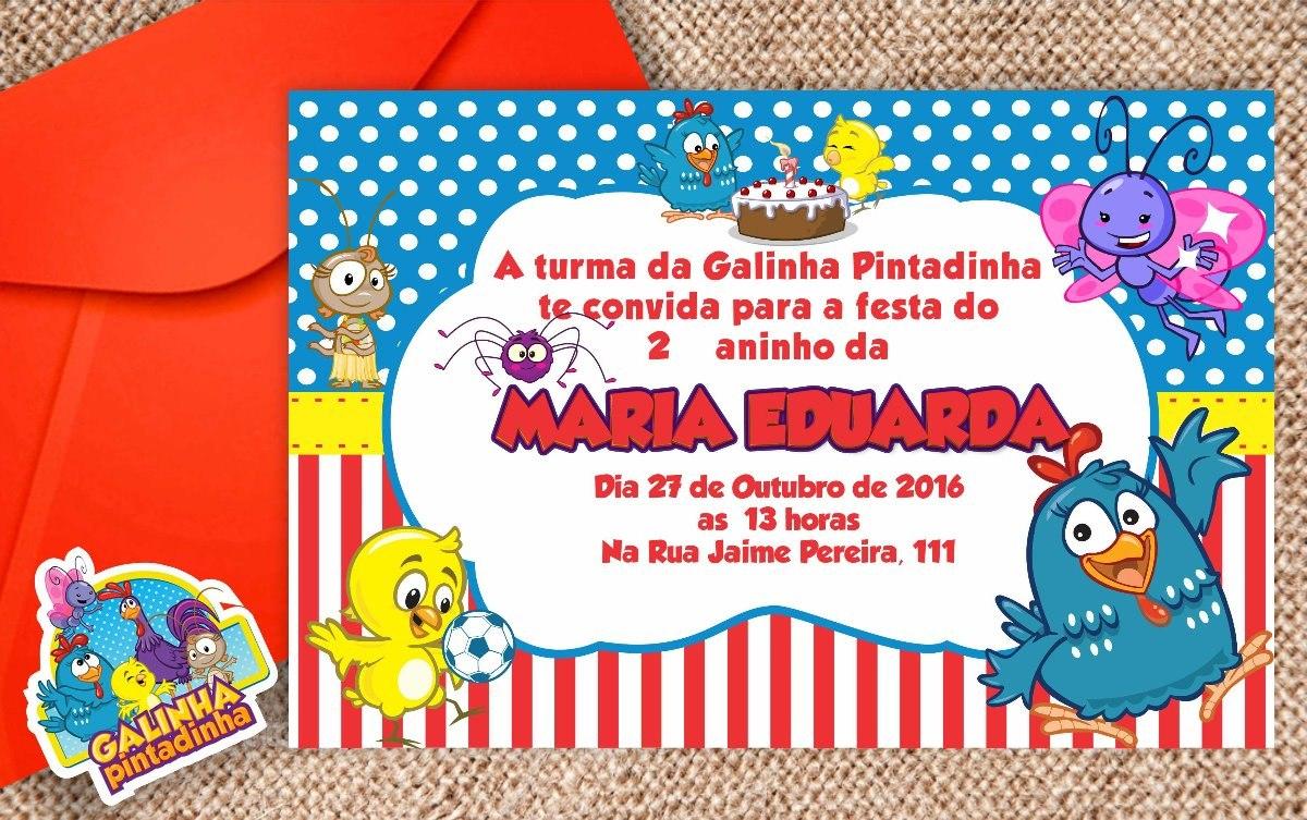 Convite Galinha Pintadinha R$ 64 50 em Mercado Livre