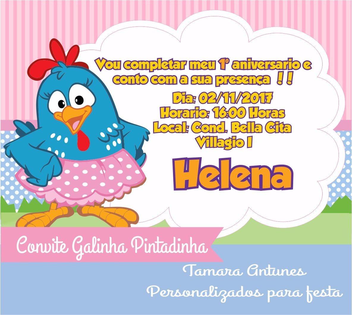 Convite Galinha Pintadinha {arte Digital} R$ 19 90 em